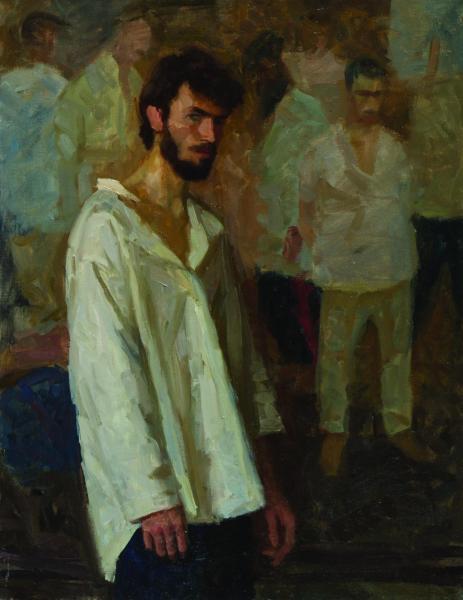 Дмитрий Шмарин. Автопортрет на фоне картины Расказачивание