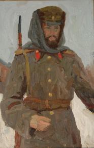 Дмитрий Шмарин. Офицер в башлыке. Автопортрет